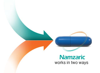 Namzaric works in two ways